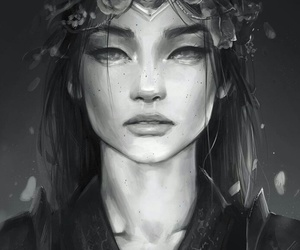digital art, flower crown, and girl image