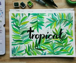 art, tropical, and green image