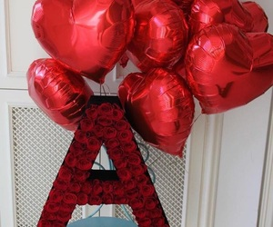 balloons, heart, and red image