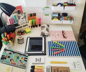 colourful, stationery, and desk image