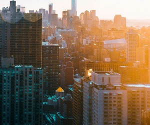 city, morning, and new york image