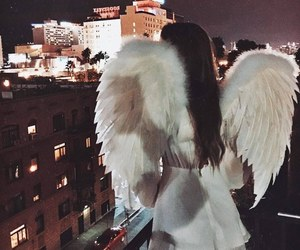 girl, angel, and white image