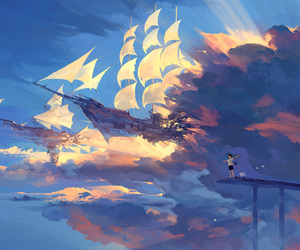 anime, ship, and sky image