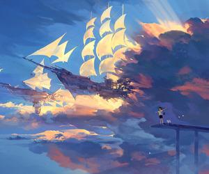 anime, ship, and sky image