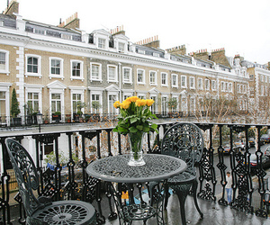 balcony, flowers, and Houses image
