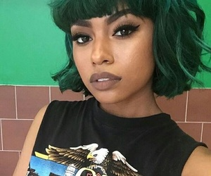 hair, green, and makeup image