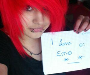 emo, girl, and red image