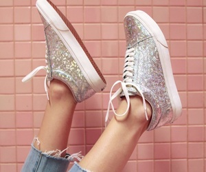 glitter, pink, and vans image