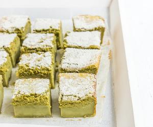 cake, matcha, and custard image