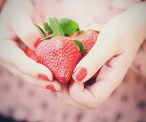 strawberry, red, and nails image