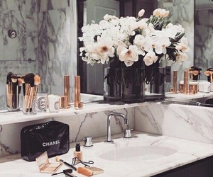 flowers, bathroom, and chanel image