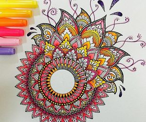 mandala, art, and colorfull image