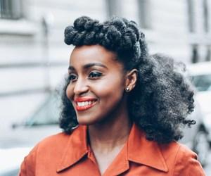 beauty, orange lipstick, and kinky curly hair image