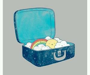 Malaysia, suitcase, and rainbow image