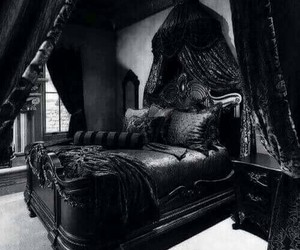 black, bedroom, and gothic image