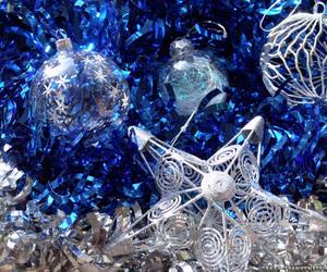 christmas, blue, and stars image