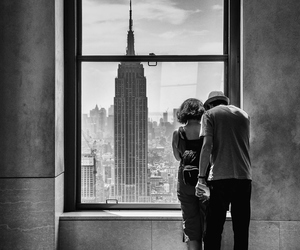 black and white, couple, and new york image