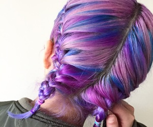 blue hair, braids, and color hair image