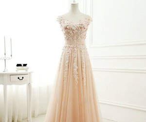 prom dress, long prom dress, and lace evening dresses image