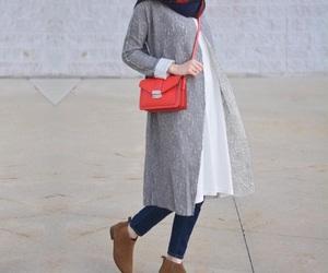 fashion, orange bag, and hejab fashion image