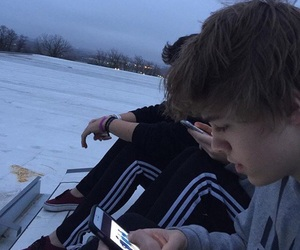 boy, cold, and snow image