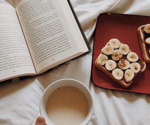 book, banana, and coffee image