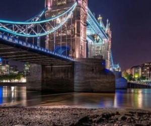 london, light, and bridge image