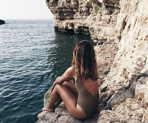 girl, rock, and ocean image