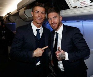 cristiano ronaldo, real madrid, and sergio ramos image