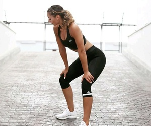 black, blonde, and fit image
