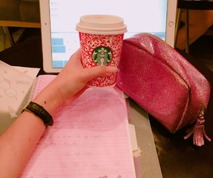 christmas, pink, and starbucks image