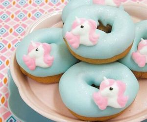 unicorn, donuts, and blue image