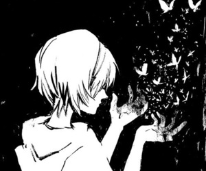 anime, butterfly, and black and white image