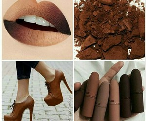 brown, lipstick, and makeup image