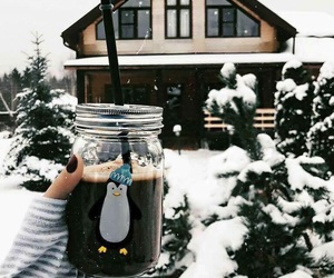 coffee, house, and snow image