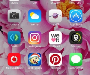 girl, white iphone, and home screen image