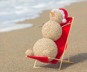beach, christmas, and sand image