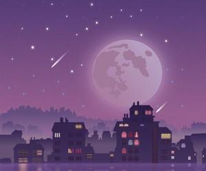 moon, purple, and stars image