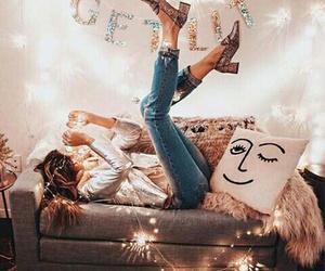 girl, light, and home image