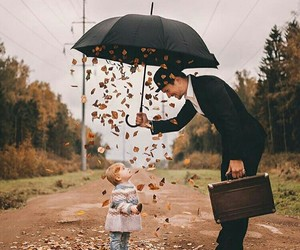 autumn, child, and umbrella image