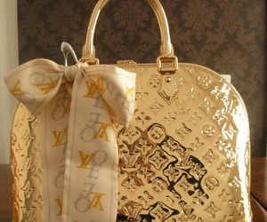 bag, Louis Vuitton, and gold image