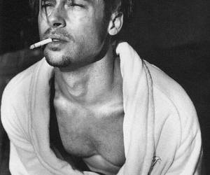 brad pitt, black and white, and smoke image