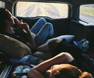 couple, car, and travel image