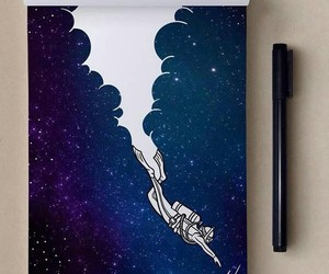 art, galaxy, and dive image