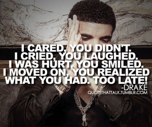 quote, Drake, and hurt image