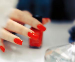 nailpolish, nails, and red image