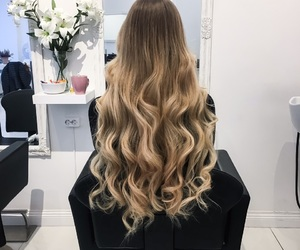 blonde, brunette, and balayage image
