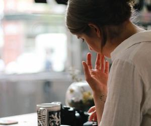 coffee, girl, and cafe image