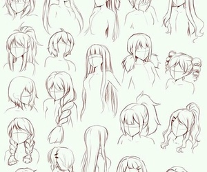 drawing, female, and hairstyles image