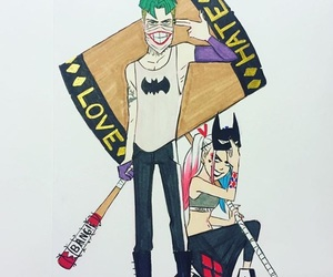 harley quinn, joker, and hate image